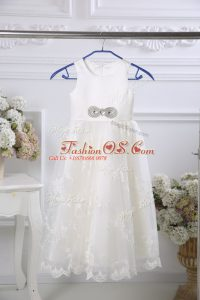 White Zipper Scoop Beading and Lace Toddler Flower Girl Dress Tulle Sleeveless