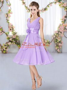 Sleeveless Lace Up Knee Length Hand Made Flower Dama Dress