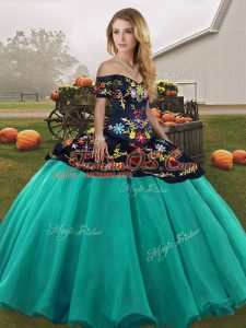 Designer Off The Shoulder Sleeveless Lace Up Quinceanera Gowns Turquoise Tulle