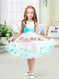 Tulle Scoop Sleeveless Zipper Appliques and Belt Flower Girl Dress in White