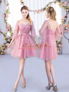 V-neck Half Sleeves Bridesmaid Dress Mini Length Appliques and Belt Pink Tulle