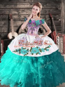 Turquoise Off The Shoulder Lace Up Embroidery Quince Ball Gowns Sleeveless