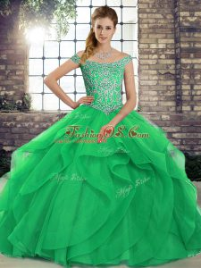 Green Off The Shoulder Lace Up Beading and Ruffles Quinceanera Dresses Brush Train Sleeveless