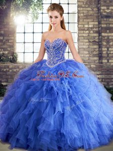 Blue Sweet 16 Dress Military Ball and Sweet 16 and Quinceanera with Beading and Ruffles Sweetheart Sleeveless Lace Up