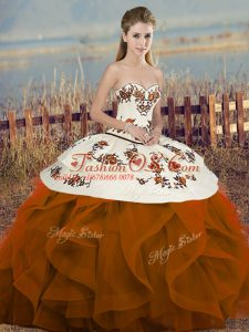 Shining Rust Red Sleeveless Embroidery and Ruffles and Bowknot Floor Length Quinceanera Dresses