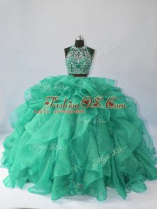 Sleeveless Brush Train Backless Beading and Ruffles Quinceanera Gown