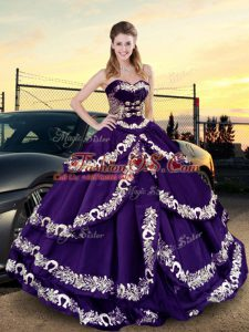Traditional Sleeveless Embroidery and Ruffled Layers Lace Up Quinceanera Gown with Purple