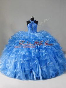 Blue Quince Ball Gowns Sweet 16 and Quinceanera with Beading and Ruffles Scoop Sleeveless Brush Train Zipper