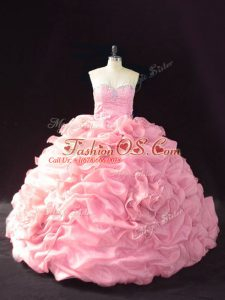 Cute Pink Sleeveless Court Train Beading and Pick Ups and Hand Made Flower Sweet 16 Dress