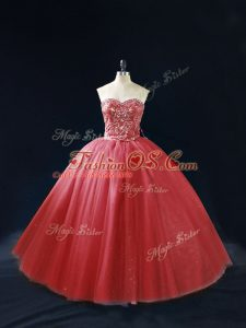 Red Lace Up Sweetheart Beading Quinceanera Gowns Tulle Sleeveless