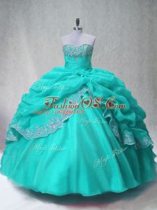 Sweetheart Sleeveless Lace Up Sweet 16 Quinceanera Dress Aqua Blue Organza