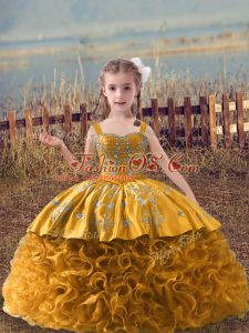 Latest Fabric With Rolling Flowers Sleeveless Little Girls Pageant Dress Sweep Train and Embroidery