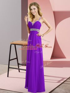 Nice Purple Straps Criss Cross Beading Womens Party Dresses Sleeveless