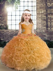 Graceful Ball Gowns Child Pageant Dress Gold Straps Fabric With Rolling Flowers Sleeveless Floor Length Lace Up