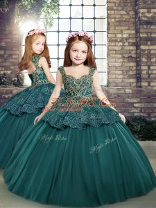 Elegant Teal Straps Neckline Beading and Appliques Little Girl Pageant Dress Sleeveless Side Zipper
