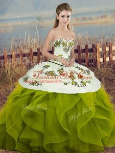 Olive Green Tulle Lace Up Sweet 16 Dress Sleeveless Floor Length Embroidery and Ruffles and Bowknot