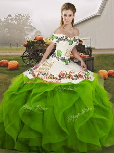 Customized Green Ball Gowns Tulle Off The Shoulder Sleeveless Embroidery and Ruffles Floor Length Lace Up Sweet 16 Dresses