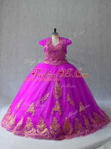 Fuchsia Ball Gowns Sweetheart Sleeveless Tulle Court Train Lace Up Beading and Appliques Sweet 16 Quinceanera Dress