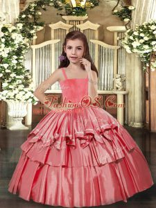 Coral Red Lace Up Straps Ruffled Layers Pageant Gowns For Girls Taffeta Sleeveless
