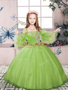 Long Sleeves Floor Length Beading Lace Up Girls Pageant Dresses with Champagne