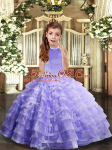 Latest Floor Length Lavender Little Girls Pageant Gowns Organza Sleeveless Beading and Ruffled Layers