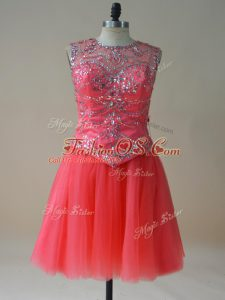 Exceptional Sleeveless Mini Length Beading Lace Up Military Ball Gowns with Coral Red