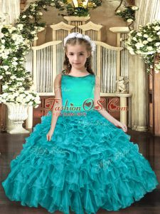 Scoop Sleeveless Lace Up Little Girls Pageant Gowns Aqua Blue Organza