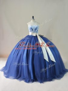 Glorious Lace Up Quinceanera Gown Navy Blue for Sweet 16 and Quinceanera with Appliques and Sashes ribbons and Bowknot Brush Train