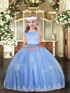 Excellent Baby Blue Scoop Neckline Beading and Appliques Pageant Gowns For Girls Sleeveless Zipper
