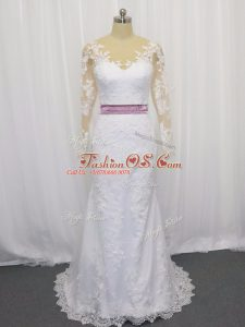 Superior Scoop Long Sleeves Tulle Wedding Gowns Lace and Belt Sweep Train Clasp Handle