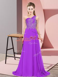 On Sale Purple Empire Chiffon One Shoulder Sleeveless Beading Floor Length Side Zipper Womens Party Dresses