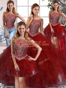Spectacular Sleeveless Zipper Floor Length Beading and Ruffles Quinceanera Gowns