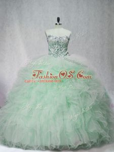 Simple Sleeveless Brush Train Lace Up Beading and Ruffles Sweet 16 Dress