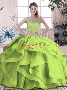 Elegant Green Sleeveless Floor Length Beading and Lace and Ruffles Lace Up Sweet 16 Quinceanera Dress