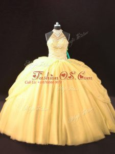 Gold Sleeveless Beading and Pick Ups Floor Length Quinceanera Dress