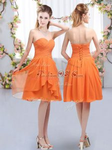 Colorful Orange Chiffon Lace Up Bridesmaid Dresses Sleeveless Knee Length Ruffles and Ruching