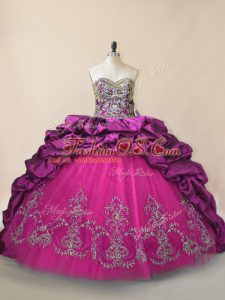 Pretty Purple Sleeveless Taffeta and Tulle Brush Train Lace Up Quinceanera Gown for Sweet 16 and Quinceanera