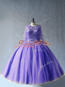 Floor Length Lace Up Vestidos de Quinceanera Lavender for Sweet 16 and Quinceanera with Beading