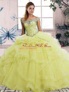 Yellow Lace Up Off The Shoulder Beading and Ruffles 15 Quinceanera Dress Tulle Sleeveless