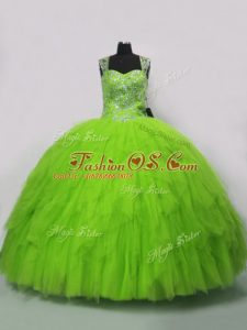 Extravagant Sleeveless Lace Up Floor Length Beading and Ruffles Sweet 16 Quinceanera Dress