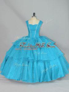 Aqua Blue Lace Up Sweet 16 Dress Beading and Ruffled Layers Sleeveless Floor Length