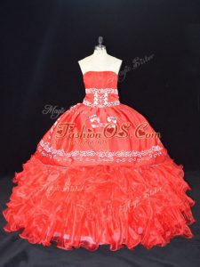 Red Strapless Lace Up Embroidery and Ruffles Quinceanera Dress Sleeveless