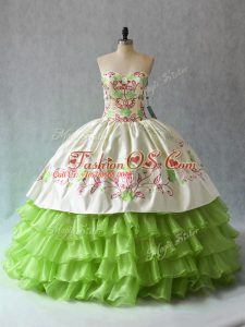 Comfortable Ruffled Layers Quinceanera Dresses Green Lace Up Sleeveless Floor Length