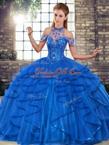 Fantastic Sleeveless Tulle Floor Length Lace Up Sweet 16 Dresses in Royal Blue with Beading and Ruffles