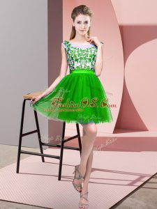 Sophisticated Mini Length Green Court Dresses for Sweet 16 Bateau Sleeveless Zipper