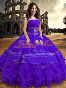 Discount Sleeveless Floor Length Embroidery and Ruffles Lace Up Sweet 16 Quinceanera Dress with Purple