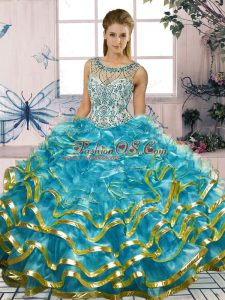 Best Selling Blue Ball Gowns Beading and Ruffles Quinceanera Gowns Lace Up Organza Sleeveless Floor Length