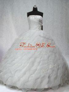 Designer Sleeveless Brush Train Beading and Ruching Lace Up Sweet 16 Dress