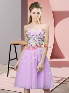Shining Appliques Damas Dress Lilac Lace Up Sleeveless Knee Length