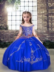 Sweet Royal Blue Sleeveless Tulle Lace Up Pageant Gowns For Girls for Party and Military Ball and Wedding Party